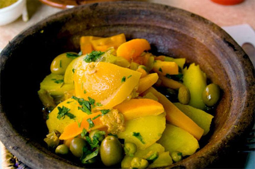 Tajine au poulet, citrons et olives